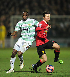 Manchester United's Ander Herrera battles for the ball with Yeovil Town's Nathan Smith  - Photo mandatory by-line: Joe meredith/JMP - Mobile: 07966 386802 - 04/01/2015 - SPORT - football - Yeovil - Huish Park - Yeovil Town v Manchester United - FA Cup - Third Round