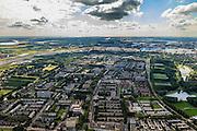 Nederland, Zuid-Holland, Rotterdam, 15-07-2012; Overzicht Zuidwijk en Pendrecht (deelgemeente Charlois, Rotterdam-Zuid). Waalhaven in de achtergrond..Nieuwbouwwijken uit de jaren vijftig van de vorige eeuw, wederopbouw periode. Stedenbouwkundig ontwerp van Lotte Stam-Beese (Pendrecht) en  Willem van Tijen (Zuidwijk)..Overview Zuidwijk (foreground) and Pendrecht (part of Charlois, Rotterdam-South). New neighborhood (fifties of the last century), post-war reconstruction period. Urban design . .luchtfoto (toeslag), aerial photo (additional fee required).foto/photo Siebe Swart