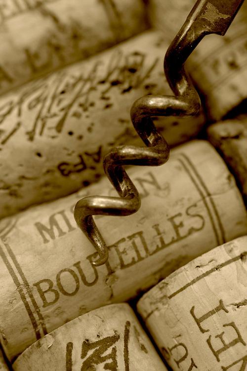 corkscrew over corks