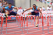 Devon Allen (USA) and Aries Merritt (USA in the Mens 110m Hurdles Finals during the Muller Anniversary Games at the London Stadium, London, England on 9 July 2017. Photo by Jon Bromley.