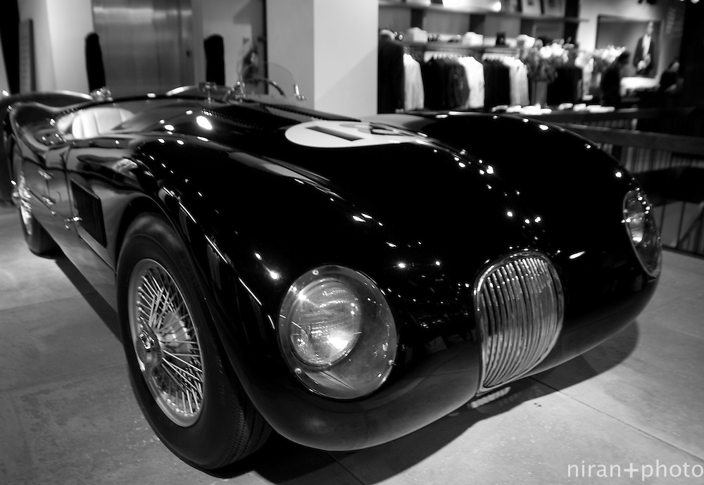 Jaguar on display at clothing store.