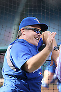 ANAHEIM, CA - AUGUST 2:  John Gibbons #5 manager of the Toronto Blue Jays has a laugh during batting practice before the game against the Los Angeles Angels of Anaheim on Friday, August 2, 2013 at Angel Stadium in Anaheim, California. The Angels won the game 7-5. (Photo by Paul Spinelli/MLB Photos via Getty Images) *** Local Caption *** John Gibbons