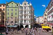 Tourists by the Holblinghaus in Herzog Friedrich Strasse, Innsbruck the Tyrol Austria