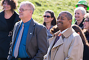 Athens Mayor, Paul Wiehl and the President of Ohio University, Roderick McDavis, attend the Oxbow Bridge dedication on October 28, 2013.  They later spoke during the event, thanking donors and contributers to the project. photo by Elizabeth Held