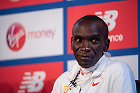 Eliud Kipchoge KEN at a press conference at the Guoman Tower Hotel for the winners of The Abbott World Marathon Majors Series XI, 23 April 2018.<br /> <br /> Photo: Thomas Lovelock for Virgin Money London Marathon<br /> <br /> For further information: media@londonmarathonevents.co.uk