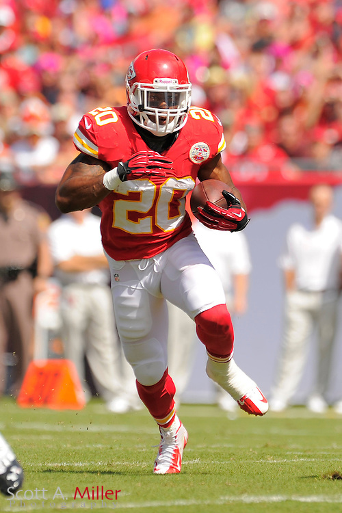 Kansas City Chiefs running back Shaun Draughn (20) during the Tampa Bay Buccaneers 38-10 win over the Chiefs at Raymond James Stadium  on Oct. 14, 2012 in Tampa, Florida. ..©2012 Scott A. Miller...