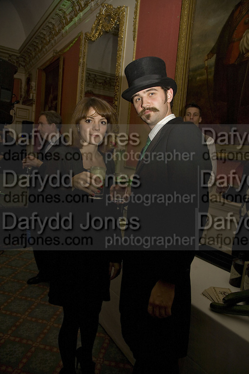 CLAIRE DRUMMOND AND LOUIS LEWIS-SMITH, The Literary Review Bad sex in Fiction Award 2007. The In and Out Naval and Military Club. St. James's Sq. London. 27 November 2007. -DO NOT ARCHIVE-© Copyright Photograph by Dafydd Jones. 248 Clapham Rd. London SW9 0PZ. Tel 0207 820 0771. www.dafjones.com.