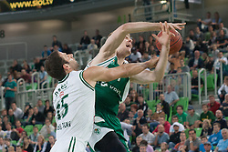 Zoran Dragic of Krka & Vladimir Dasic of Union Olimpija during basketball match between KK Union Olimpija and KK Krka in 4nd Final match of Telemach Slovenian Champion League 2011/12, on May 24, 2012 in Arena Stozice, Ljubljana, Slovenia.  (Photo by Grega Valancic / Sportida.com)