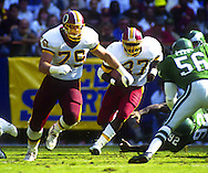 WASHINGTON DC - 1991:  Washington Redskins lineman Jim Lachey in action during an NFL game at RFK Stadium in Washington, DC during the 1991 season.  Lachey played for the Redskins from 1988-1995.  (Photo by Ron Vesely)