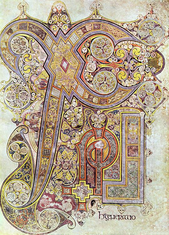 Monogram page from 'The Book of Kells' 'Christi Auteum Generatio' 6th century manuscript of the Four Gospels