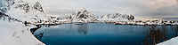 Panoramic view of the fishing village of Reine, on Moskenseoya Island in the Lofoten Islands, Arctic, Northern Norway.