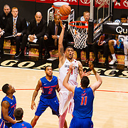 27 February 2018: San Diego State men's basketball hosts Boise State in it's last meet up of the regular season at Viejas Arena. San Diego State Aztecs forward Nolan Narain (24) makes a bucket in the paint while being defended by Boise State Broncos forward Zach Haney (11). The Aztecs lead 38-37 at halftime. <br /> More game action at sdsuaztecphotos.com