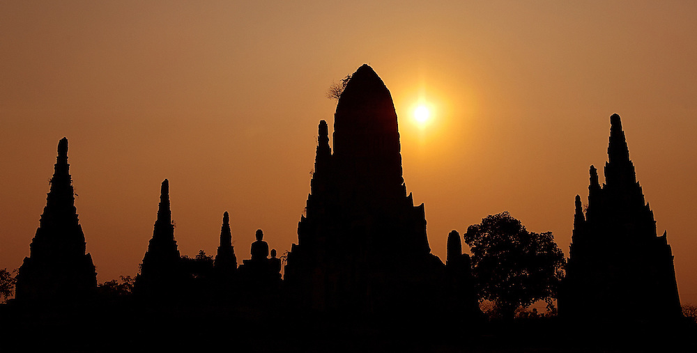 Sunset over Ayutthaya, Thailand.