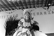 Traditional dance performance by a member of the community folk-dance group. Community of Nueva Esperanza, El Salvador, 1999.