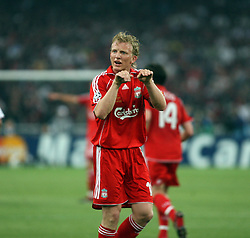 Athens, Greece - Wednesday, May 23, 2007: Liverpool's Dirk Kuyt argues with referee Fandel Herbert during the UEFA Champions League Final against AC Milan at the OACA Spyro Louis Olympic Stadium. (Pic by Chris Ratcliffe/Propaganda)