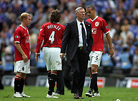 Photo: Paul Thomas.<br /> Chelsea v Manchester United. The FA Cup Final. 19/05/2007.<br /> <br /> Manager Sir Alex Ferguson consoles a dejected Utd team.