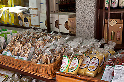 Polenta, mushrooms, and nearly every other Italian foodstuff that can be sold as a dried product are on offer in Stresa's small shops. Pedestrians-only lanes lined with tiny shops and eateries radiate off Piazza Cadorna in Stresa, a prime tourism hub on the western shore of Lake Maggiore, Italy.