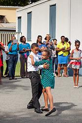 Jomar Richardson and Yuliannie Osorio dance the tango at Ricardo Richards Elementary School Dancing Calssrooms VI Culminating Event.  17 December 2015.  Christiansted, St. Croix.   © Aisha-Zakiya Boyd.