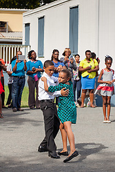 Jomar Richardson and Yuliannie Osorio dance the tango at Ricardo Richards Elementary School Dancing Calssrooms VI Culminating Event.  17 December 2015.  Christiansted, St. Croix.   © Aisha-Zakiya Boyd.