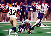 New England Patriots kicker Adam Vinatieri (86) kicks the 48 yard game winning field goal during the 2002 NFL Super Bowl XXXVI playoff football game against the St. Louis Rams on Sunday, Feb. 3, 2002 in New Orleans. The Patriots won the game 20-17. (©Paul Anthony Spinelli)