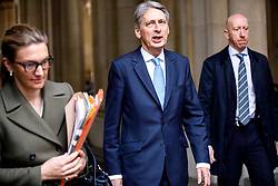 © Licensed to London News Pictures. 29/03/2017. London, UK. Chancellor PHILIP HAMMOND attends a cabinet meeting in Downing Street, London on Wednesday, 29 March 2017 as Prime Minister Theresa May triggers article 50 and starts Britain's departure from the European Union. Photo credit: Tolga Akmen/LNP