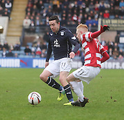 Ryan Conroy takes on Ali Crawford - Dundee v Hamilton, SPFL Championship at <br />