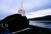 Faroe Islands. The church in Kaldbak from 1835.