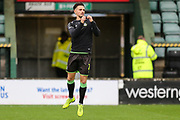 Forest Green Rovers Liam Shephard(2) warming up during the EFL Sky Bet League 2 match between Yeovil Town and Forest Green Rovers at Huish Park, Yeovil, England on 8 December 2018.