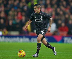 STOKE-ON-TRENT, ENGLAND - Tuesday, January 5, 2016: Liverpool's Philippe Coutinho Correia in action against Stoke City during the Football League Cup Semi-Final 1st Leg match at the Britannia Stadium. (Pic by David Rawcliffe/Propaganda)