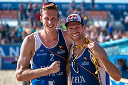 25-08-2019 NED: DELA NK Beach Volleyball, Scheveningen<br /> Last day NK Beachvolleyball / Alexander Brouwer #1, Christiaan Varenhorst #2 Dutch champion Beachvolleyball 2019