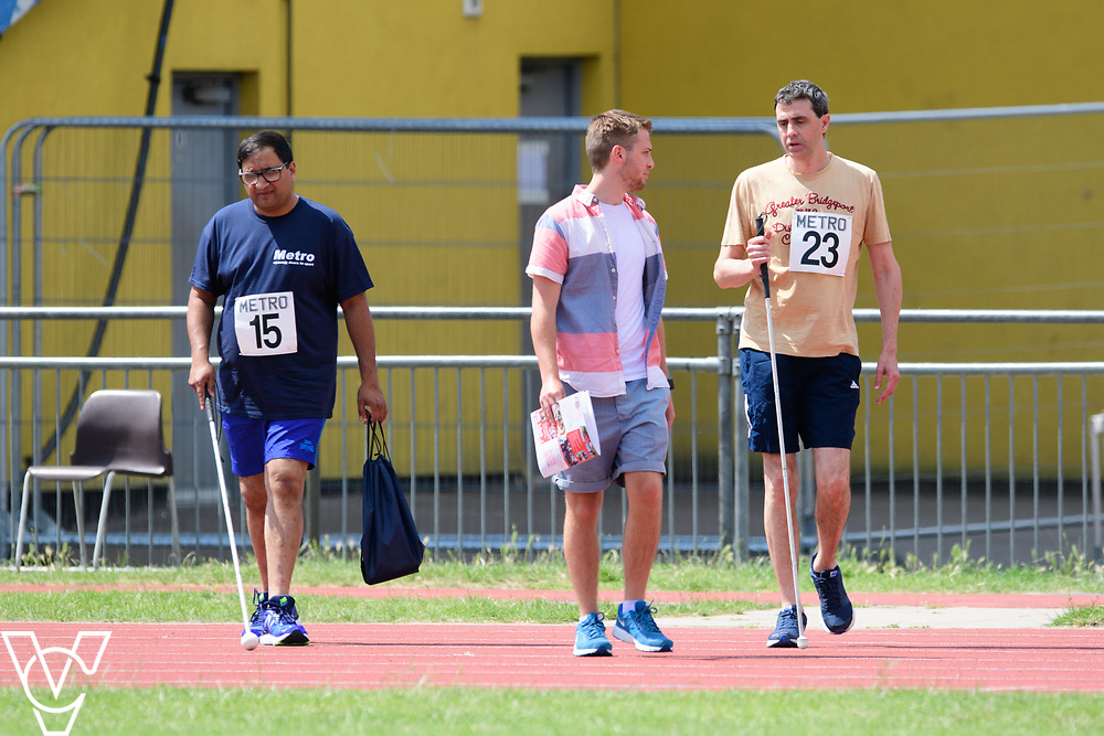 Metro Blind Sport's 2017 Athletics Open held at Mile End Stadium.  Javelin.  Atif Umer, left, and Tim Morrice, right.<br /> <br /> Picture: Chris Vaughan Photography for Metro Blind Sport<br /> Date: June 17, 2017