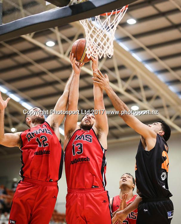 Rams Ethan Rusbatch and Tohi Smith-Milner. Hawks v Rams, NBL Basketball, PG Arena, Napier, New Zealand. Tuesday, 25 April 2017. Copyright photo: John Cowpland / www.photosport.nz