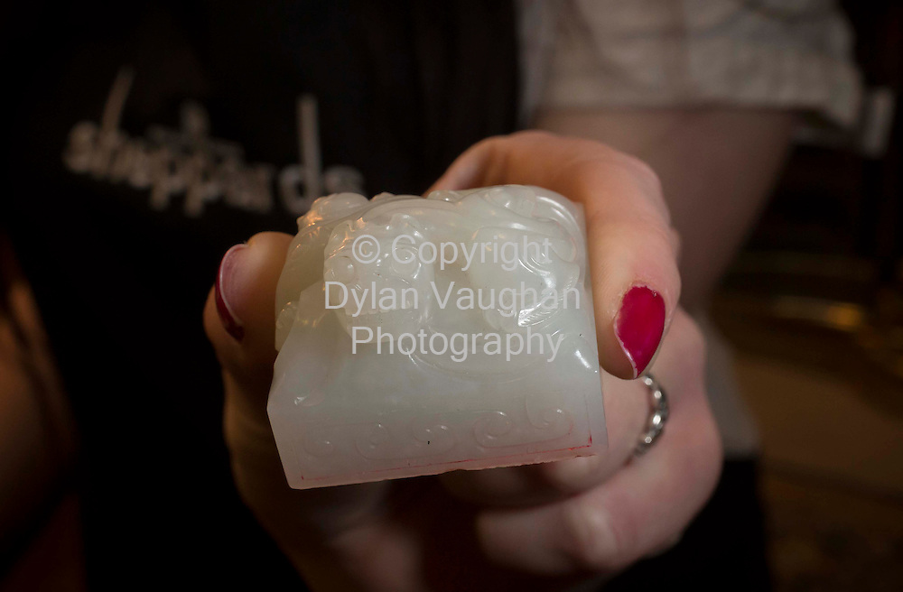 .29/11/12..The Chinese Qing Period White Jade Seal that sold for ?630,000 at Sheppard's Irish Auction House in Durrow Co. Laois..Picture Dylan Vaughan