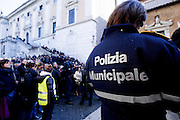Jan 09th 2015 Rome,  Assembly of the municipal police after the controversy for absences on the day of the new year's eve . In the picture the demonstration in Campidoglio square