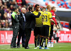 Watford Manager Quique Flores talks to Troy Deeney - Mandatory by-line: Robbie Stephenson/JMP - 24/04/2016 - FOOTBALL - Wembley Stadium - London, England - Crystal Palace v Watford - The Emirates FA Cup Semi-Final