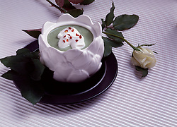 white rose black dish plate Show stopper soup spinach copy space Bon Appetit Bon Appetite