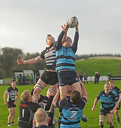 Castlebar's Simon Staunton contests a lineoutwith Ballinrobe's Dave Madden during the junior cup tie in Castlebar.<br /> Pic Conor McKeown