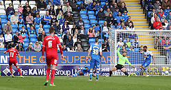 Crawley's Josh Simpson scores to make it 3-2 to Crawley - Photo mandatory by-line: Joe Dent/JMP - Mobile: 07966 386802 - 25/04/2015 - SPORT - Football - Peterborough - ABAX Stadium - Peterborough United v Crawley Town - Sky Bet League One