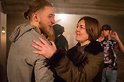 Cast member Aston McAuley is proudly congratulated by Dawn, who introduced Aston to The Big House, after the very first performance of Phoenix Rising.<br /> The full-scale production, which runs from 8th Nov - 2nd of Dec 2017 under Smithfield Meat Market, has been put together by charity The Big House, a charity that helps troubled youths who have been in care.