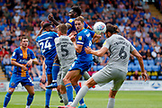 Portsmouth defender Christian Burgess (6) just misses the target during the EFL Sky Bet League 1 match between Shrewsbury Town and Portsmouth at Greenhous Meadow, Shrewsbury, England on 3 August 2019.