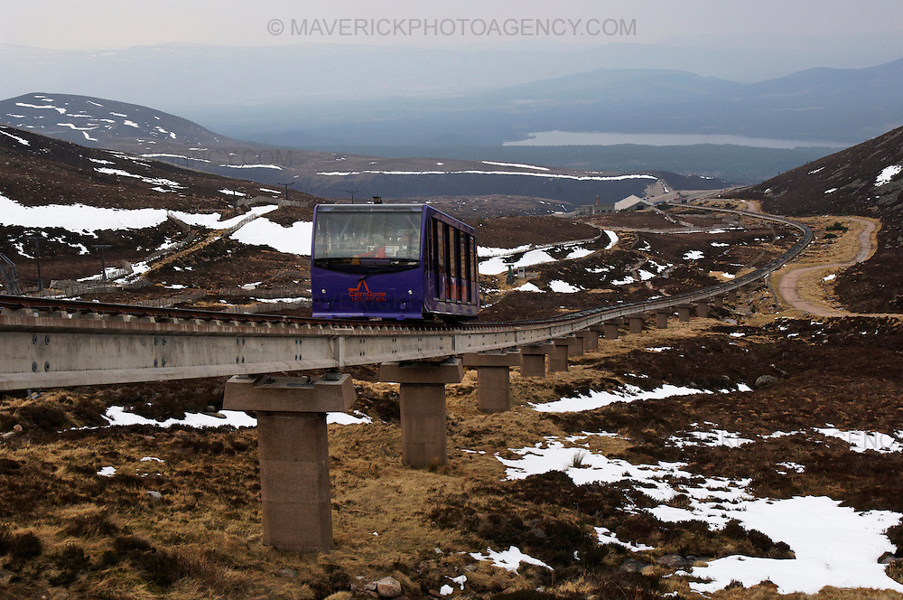 The Cairngorm Mountain Funicular Railway, which runs to the summit of the mountain in the Scottish Highlands.  The Cairngorm Funicular is the Country's highest and fastest mountain railway and has a track that stretches 2 kilometres.