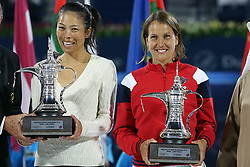 DUBAI, Feb. 24, 2019  Hsieh Su-wei(L) of Chinese Taipei and Barbora Strycova of the Czech Republic pose with the trophy after winning the women's doubles final match against Ekaterina Makarova of RussiaLucie Hradecka of the Czech Republic at Dubai Duty Free Tennis WTA Championships 2019 in Dubai, the United Arab Emirates, Feb.23, 2019. Hsieh Su-wei and Barbora Strycova won 2-0 and claimed the title. (Credit Image: © Xinhua via ZUMA Wire)