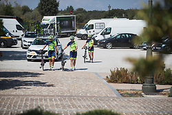 Sopela Cycling Team riders warm up for Stage 1 of the Madrid Challenge - a 12.6 km team time trial, starting and finishing in Boadille del Monte on September 15, 2018, in Madrid, Spain. (Photo by Balint Hamvas/Velofocus.com)