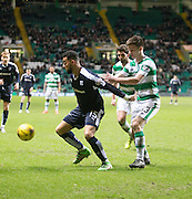 Dundee&rsquo;s Kane Hemmings and Celtic's Kieran Tierney - Celtic v Dundee - Ladbrokes Scottish Premiership at Dens Park<br /> <br />  - &copy; David Young - www.davidyoungphoto.co.uk - email: davidyoungphoto@gmail.com