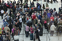 Holiday makers queue at check in at London Gatwick airport as the Christmas getaway starts Friday, 20th December 2013. Picture by Stephen Lock / i-Images