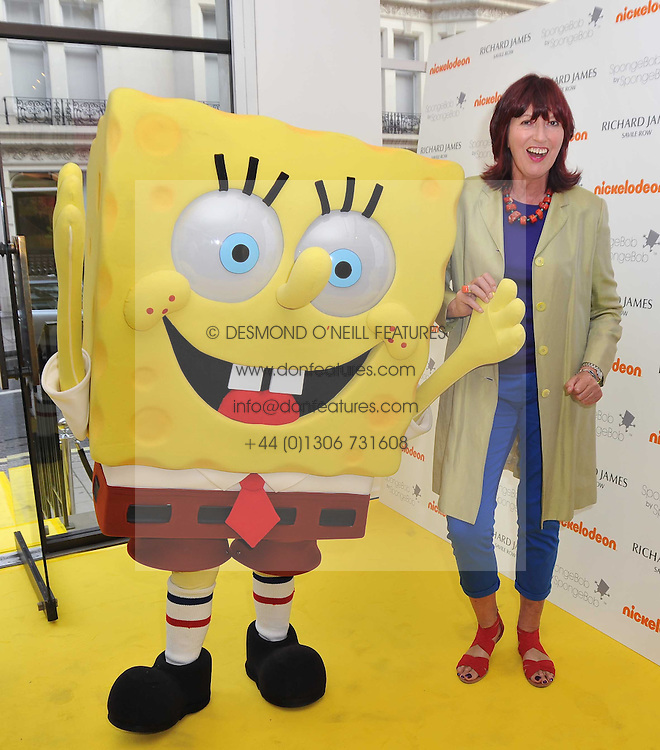 JANET STREET-PORTER and SpongeBob SquarePants at a party to launch a range of SpongeBob SquarePants suits and accessories designed by Richard James in partnership with Nickelodeon held at Richard James, 29 Savile Row, London W1 on 11th May 2011.