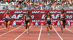 July 21, 2018 - London, United Kingdom - L-R Imani-Lara Lansiquot of Great Britain and Northern Ireland  Shelly-Ann Fraser-Pryce of Jamaica Dezerea Bryant of USA and Jonielle Smith of Jamaica compete in the 100m Women Final during the Muller Anniversary Games IAAF Diamond League Day One at The London Stadium on July 21, 2018 in London, England. (Credit Image: © Action Foto Sport/NurPhoto via ZUMA Press)