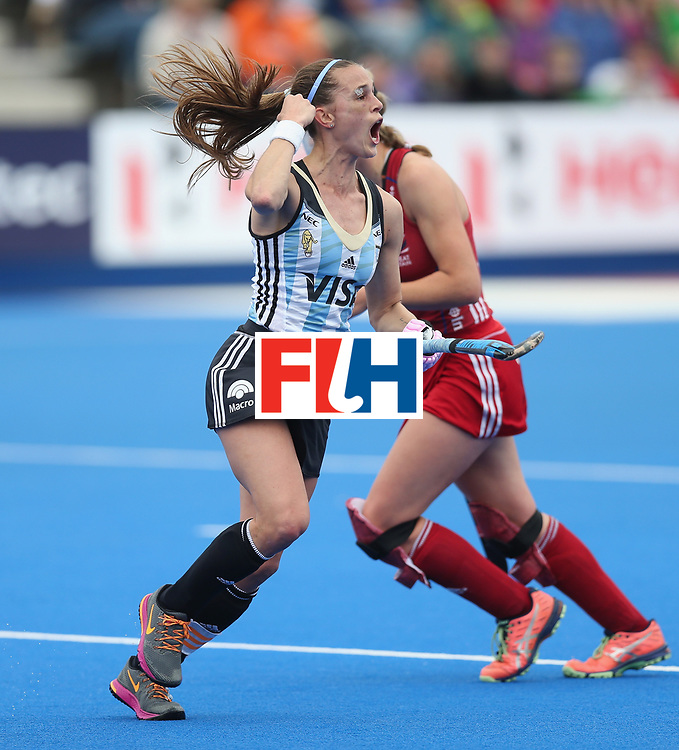 LONDON, ENGLAND - JUNE 18:  Carla Rebecchi of Argentina celebrates after scoring their second goal during the FIH Women's Hockey Champions Trophy match between Argentina and Great Britain at Queen Elizabeth Olympic Park on June 18, 2016 in London, England.  (Photo by Alex Morton/Getty Images)