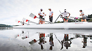 The Canadian mens quad that will represent Canada at the Rio Olympic games (left to right) Rob Gibson, Julien Bahain, Will Dean and Pascal Lussier prepare to get into their rowing shell prior to a morning training session on Elk Lake in Victoria, British Columbia on June 22, 2016.