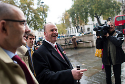 © London News Pictures. 04/11/2015. London, UK. Chip shop owner BARRY BEAVIS  (centre) arriving at the Supreme Court in London where a judge at the UK's highest court ruled against him in a over parking charges case. Beavis, from Chelmsford, Essex, was challenging private parking operators who charged him £85 for overstaying his two hours of free parking. Photo credit: Ben Cawthra/LNP